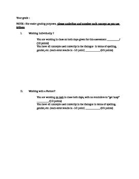 Beginner French formative or summative dialogue creation - school