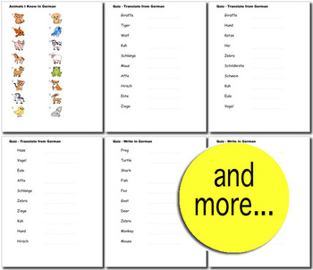 Beginner German: Animals - ☆no prep☆ printables, quizes, activities and more