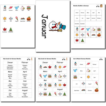 Beginner German Days Months Holidays - no prep printables quizes activities