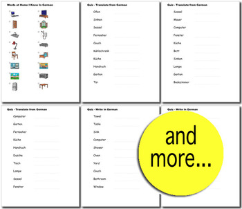 Beginner German Household Words no prep printables, quizes, activities and more