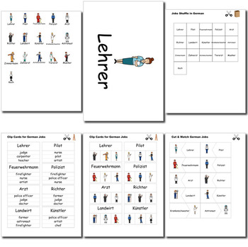Beginner German: Jobs - ☆no prep☆ printables, quizes, activities and more