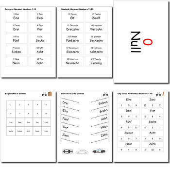 Beginner German: Numbers - ☆no prep☆ printables, quizes, activities and more