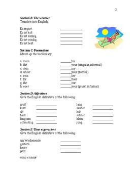 German Beginner Worksheets for Review #2