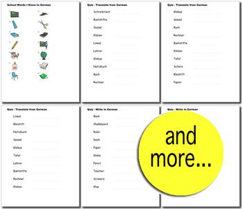 Beginner German: School Words no prep printables, quizes, activities and more