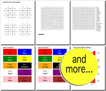 Beginner German: colors - ☆no prep☆ printables, quizes, activities and more
