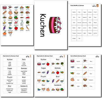 Beginner German: food - ☆no prep☆ printables, quizes, activities and more