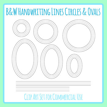 Beginner Handwriting Lines - Circles and Ovals in Black and White