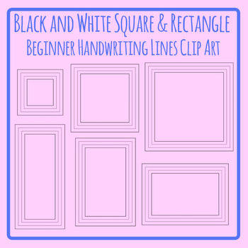 Beginner Handwriting Lines Squares and Rectangles in Black and White
