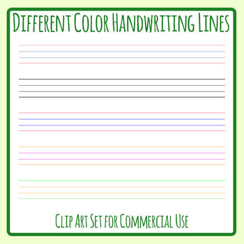 Beginner Handwriting Lines in Different Colors Clip Art Set Commercial Use