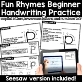 Beginner Handwriting Practice: Letters and Numbers with Rhymes Distance Learning