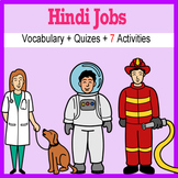 Beginner Hindi: Jobs - ☆no prep☆ printables, quizes, activities and more