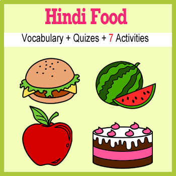 Beginner Hindi: food - ☆no prep☆ printables, quizes, activities and more