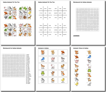 Beginner Italian: Animals - ☆no prep☆ printables, quizes, activities and more