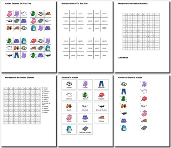 Beginner Italian: Clothes - ☆no prep☆ printables, quizes, activities and more
