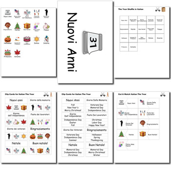 Beginner Italian Days Months Holidays - no prep printables quizes activities
