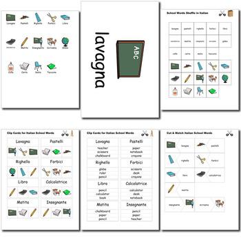Beginner Italian: School Words no prep printables, quizes, activities and more