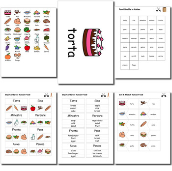 Beginner Italian: food - ☆no prep☆ printables, quizes, activities and more