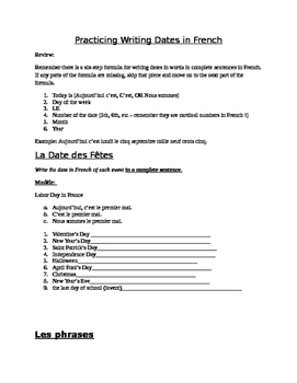 Beginner Level French Writing Dates Handout