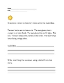 Beginner Main Idea Worksheet