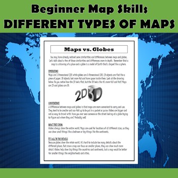 Beginner Map Skills-Different Types of Maps & Maps vs. Globes