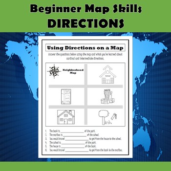 Beginner Map Skills-Parts of a Map and Cardinal & Intermediate Directions