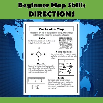 beginner map skills cardinal and intermediate directions tpt. Black Bedroom Furniture Sets. Home Design Ideas