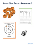 Beginner Math Expressions and Variables Penny Slide Game