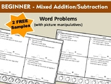Beginner - Mixed Addition/Subtraction Word Problems (2 FRE