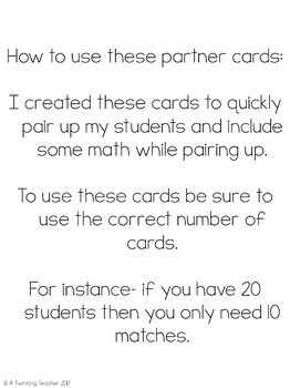 Beginner Multiplication Math Partner Cards!