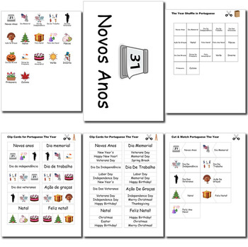 Beginner Portuguese Days Months Holidays - no prep printables quizes activities