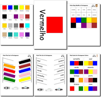 Beginner Portuguese: colors - ☆no prep☆ printables, quizes, activities and more
