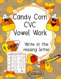 Beginner Reading CVC Candy Corn Vowel Work NO PREP Fall Worksheets