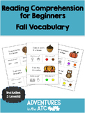 Beginner Reading Comprehension Worksheets:  Fall Vocabulary (CDN Spelling)