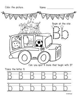 Beginner Reading NO PREP Worksheets Letter B | PreK-K