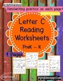 Beginner Reading NO PREP Worksheets Letter C - Hard C | PreK-K