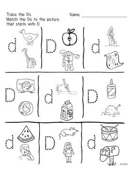 Beginner Reading NO PREP Worksheets Letter D | PreK-K