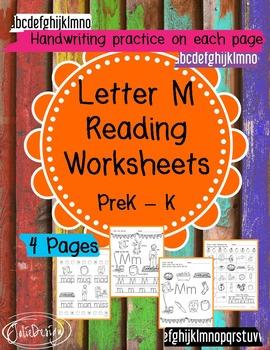 Beginner Reading NO PREP Worksheets Letter M | PreK-K