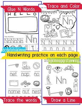 Beginner Reading NO PREP Worksheets Letter N | PreK-K