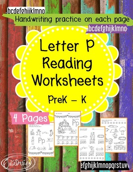 Beginner Reading NO PREP Worksheets Letter P | PreK-K