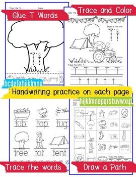 Beginner Reading NO PREP Worksheets Letter T | PreK-K