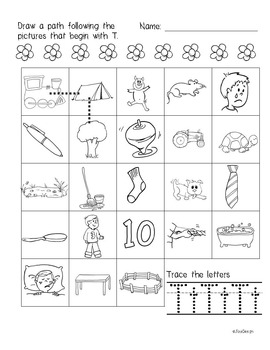 Beginner Reading NO PREP Worksheets Letter T | PreK-K