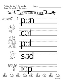 Beginner Reading NO PREP Worksheets Short A | PreK-K by JolieDesign