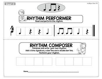 Beginner Rhythm Worksheets 2: quarter note & rest, eighth, composition, form