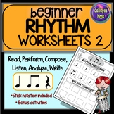 Beginner Rhythm Worksheets 2: quarter note & rest, eighth,