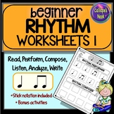 Beginner Rhythm Worksheets 1: quarter, eighth notes, compo