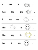 Beginner Sight Word Sentences for Kindergarten (Cut and Re