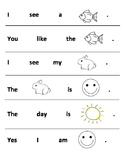 Beginner Sight Word Sentences for Kindergarten (Cut and Re