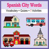 Beginner Spanish: City Words ☆no prep☆ printables, quizes, activities and more