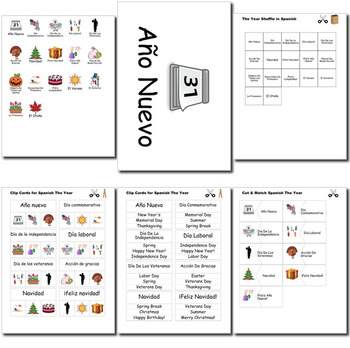 Beginner Spanish Days Months Holidays - no prep printables quizes activities