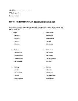 Beginner Spanish Exam (midterm)